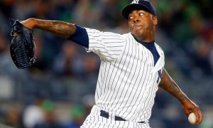 NEW YORK, NY - MAY 09:  Aroldis Chapman #54 of the New York Yankees in action against the Kansas City Royals at Yankee Stadium on May 9, 2016 in the Bronx borough of New York City. The Yankees defeated the Royals 6-3.  (Photo by Jim McIsaac/Getty Images)
