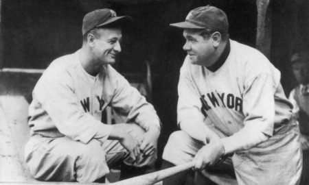 circa 1930:  New York Yankee baseball players, Lou Gehrig (1903 - 1941) and Babe Ruth (George Herman Ruth, 1895 - 1948). Gehrig's career ended when he was afflicted by the incurable disease amyotrophic lateral sclerosis, now known as 'Lou Gehrig's Disease'.  (Photo by MPI/Getty Images)