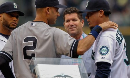 SEATTLE, WA - JUNE 10: Derek Jeter #2 of the New York Yankees is greeted by Felix Hernandez #34 (R), Robinson Cano #22 (far left) and Edgar Martinez during ceremonies honoring Jeter in his final season prior to the game at Safeco Field on June 10, 2014 in Seattle, Washington. (Photo by Otto Greule Jr/Getty Images)