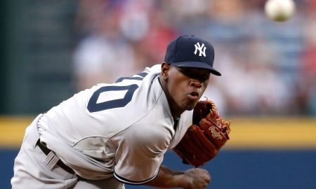 ATLANTA, GA - AUGUST 29:  Pitcher Luis Severino #40 of the New York Yankees throws a pitch in the first inning during the game against the Atlanta Braves at Turner Field on August 29, 2015 in Atlanta, Georgia.  (Photo by Mike Zarrilli/Getty Images)