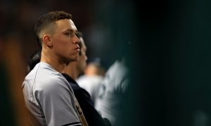 ANAHEIM, CA - JUNE 14:  Aaron Judge #99 of the New York Yankees looks on from the dugout during the sixth inning of a game against the Los Angeles Angels of Anaheim at Angel Stadium of Anaheim on June 14, 2017 in Anaheim, California.  (Photo by Sean M. Haffey/Getty Images)
