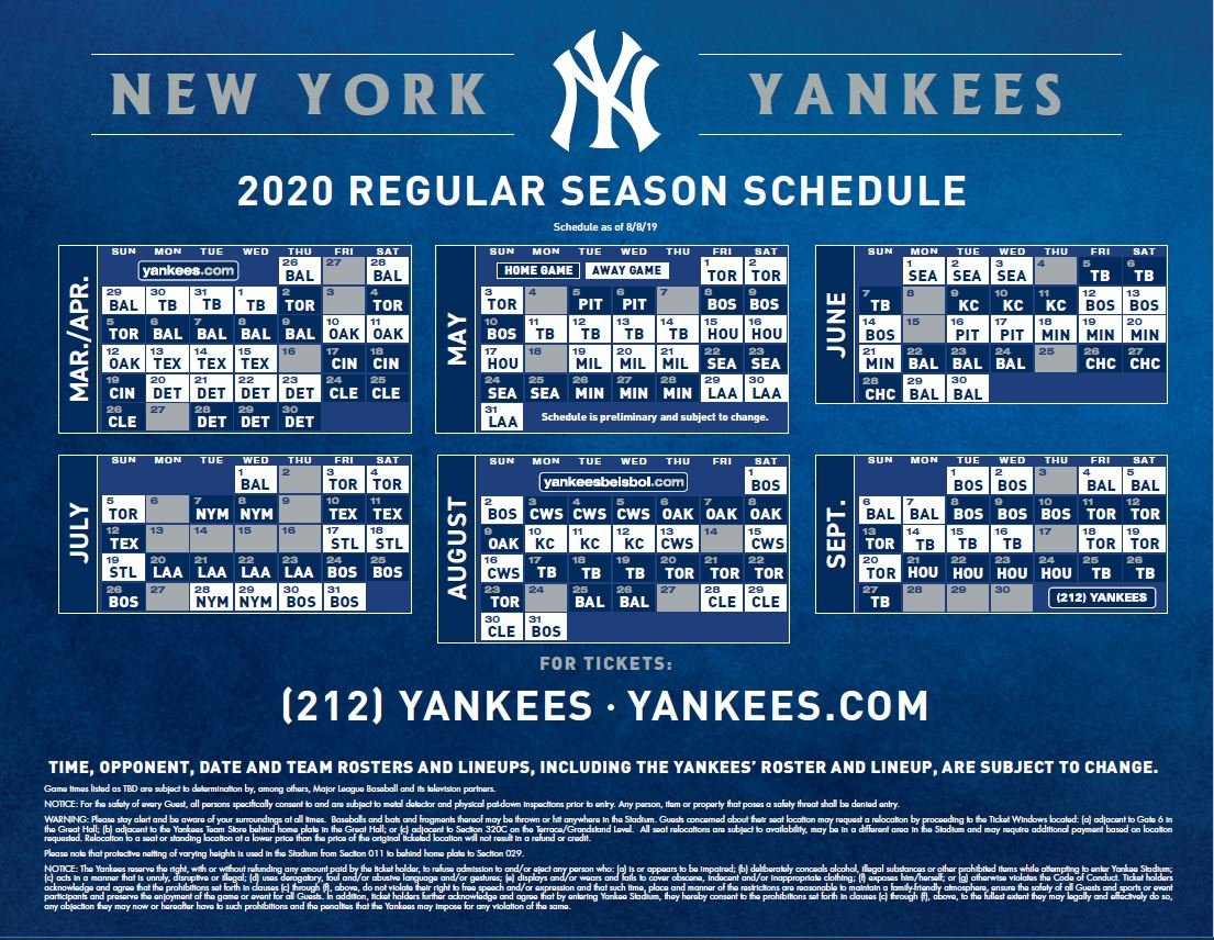 Yankees release 2020 regular season schedule | Bronx