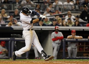 Derek Jeter currently leads all Shortstops in All-Star voting (Photo by Nick Laham/Getty Images)