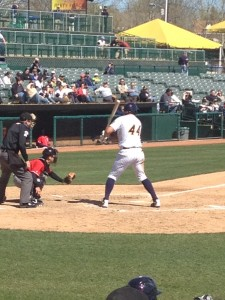 Trenton Thunder DH Cody Johnson immediately before hitting a home run at Waterfront Park on April 7, 2012